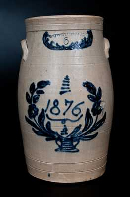 Six-Gallon Stoneware Churn with Flowering Urn Decoration, Dated 1876, Stamped