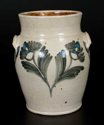 One-Gallon Philadelphia Stoneware Jar with Cobalt Floral Decoration