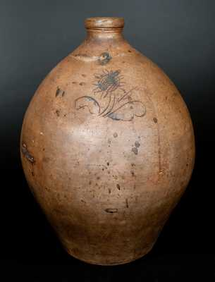 Unusual Three-Gallon Ohio Stoneware Jug with Incised Sunflower Decoration