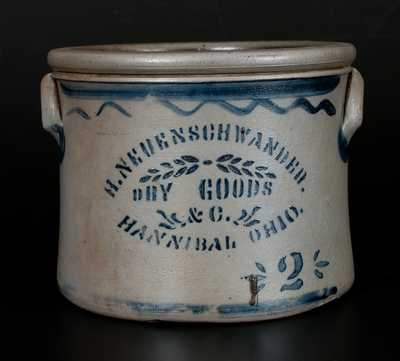 Rare Hannibal, Ohio Two-Gallon Stoneware Advertising Cake Crock, Western PA origin