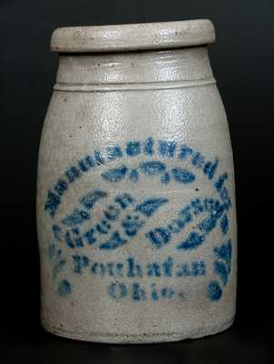 Scarce Powhatan, Ohio Stoneware Advertising Canning Jar, Western PA origin, circa 1875
