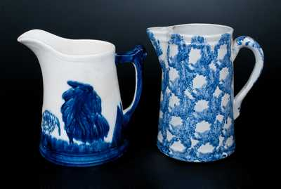 Two Cobalt-Decorated Pottery Pitchers, American, early 20th century