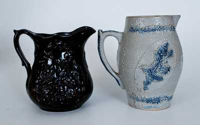 Two Molded Stoneware Pitchers, American, late 19th century