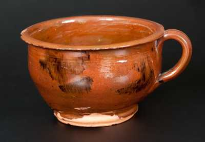 Glazed Redware Porringer, New England origin, circa 1800-1840.
