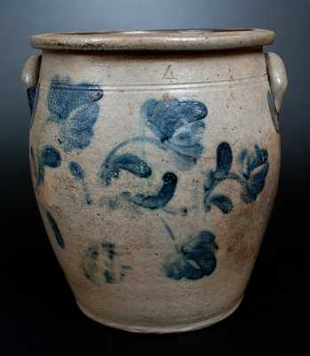Scarce Four-Gallon MCKENZIE & JACKSON / BEAVER, PA Stoneware Jar w/ Elaborate Cobalt Floral Decoration