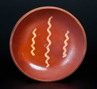 Slip-Decorated Redware Plate, Pennsylvania origin, probably Berks County