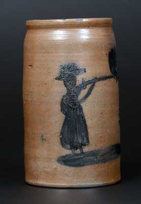 Very Rare Morgantown, WV Stoneware Canning Jar with Woman Firing Rifle