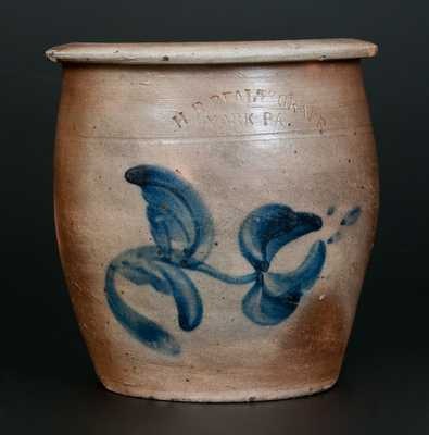 1/2 Gal. H. B. PFALTZGRAFF / YORK, PA Stoneware Cream Jar with Cobalt Floral Decoration