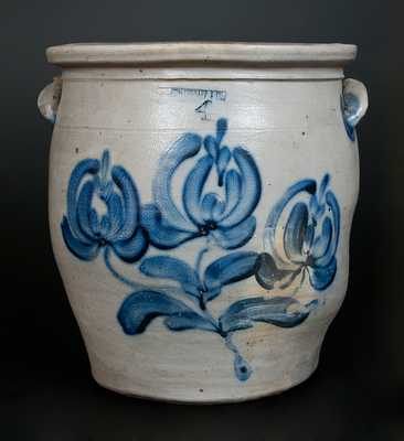 4 Gal. PFALTZGRAFF & CO. (York, PA) Stoneware Jar w/ Bold Cobalt Floral Decoration