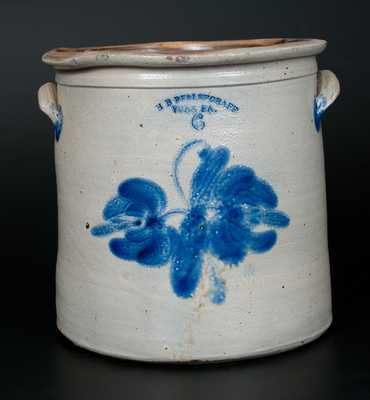 6 Gal. H. B. PFALTZGRAFF / YORK, PA Stoneware Crock with Cobalt Floral Decoration