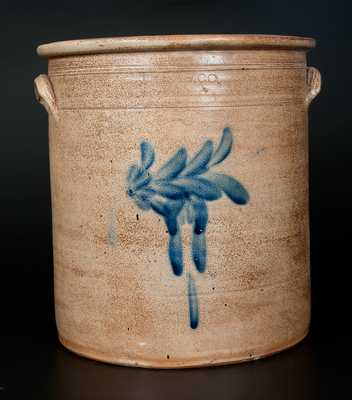 8 Gal. THE. P.S. CO. / YORK, PA (Pfaltzgraff) Stoneware Crock with Cobalt Floral Decoration