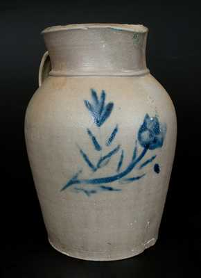 1 1/2 Gal. Stoneware Pitcher with Unusual Cobalt Floral Decoration, possibly Ohio River Valley