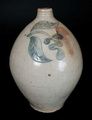 Ovoid Stoneware Jug with Incised Leaf and Floral Decoration, Old Bridge, NJ, circa 1820
