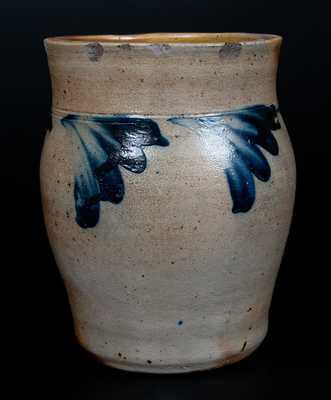 Half-Gallon Stoneware Jar w/ Cobalt Floral Decoration, attrib. Richard C. Remmey, Philadelphia, PA, c1875