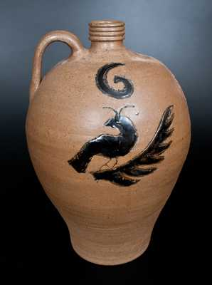 Contemporary Billy Ray Hussey, Bennett, NC Alkaline-Glazed Stoneware Jug w/ Incised Bird Decoration