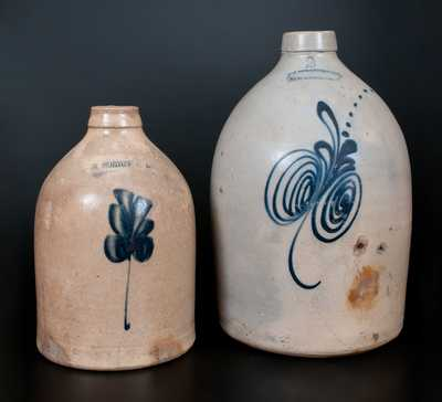 Lot of Two: Stoneware Jugs, E. NORTON & CO. / BENNINGTON, VT and F. T. WRIGHT & SON / TAUNTON, MASS