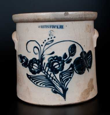 3 Gal. WHITES UTICA N.Y. Stoneware Crock with Profuse Cobalt Floral Decoration