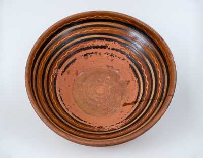 Rare Hagerstown, MD Redware Handled Bowl, late 18th century