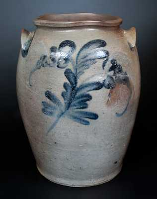 James River (Virginia) Ovoid Stoneware Jar w/ Cobalt Floral Decoration