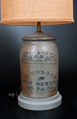 1 Gal. A. CONRAD / NEW GENEVA, PA Stoneware Jar with Stenciled Decoration (turned into lamp)
