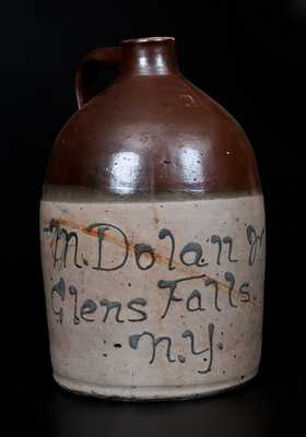 Two-Gallon Stoneware Jug w/ Glens Falls, NY Advertising