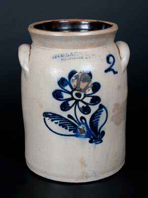 N. CLARK & CO. / ROCHESTER Stoneware Jar w/ Detailed Slip-Trailed Floral
