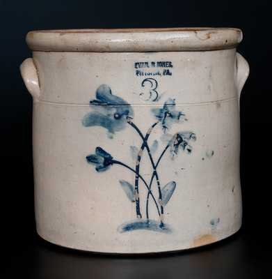 3 Gal. EVAN R. JONES / PITTSTON, PA Stoneware Crock w/ Slip-Trailed Floral Decoration