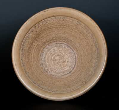 Unusual Stoneware Bowl with Tooled Interior and Impressed