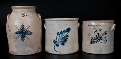 Lot of Three: Stoneware Jars with Cobalt Decoration from NEWARK, NJ, POUGHKEEPSIE, NY, and BINGHAMTON, NY