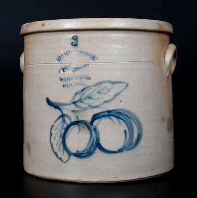 Unusual W. A. MACQUOID & CO. / NEW YORK Stoneware Crock w/ Peaches Decoration