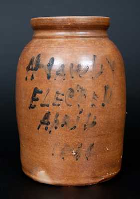 Rare Stoneware Political Crock, possibly Smith, Norwalk, Connecticut