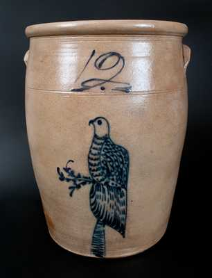 Twelve-Gallon Stoneware Jar with Cobalt Bird Decoration, Ohio origin