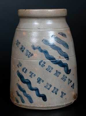 NEW GENEVA POTTERY Stoneware Canning Jar with Stripe Decoration
