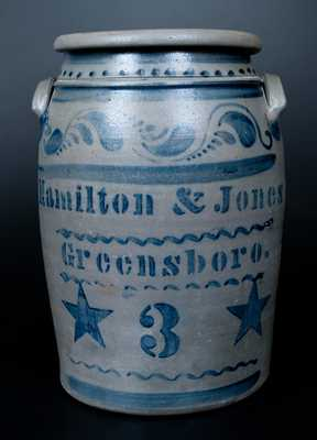 HAMILTON & JONES / GREENSBORO 3 Gal. Stoneware Crock with Large Stenciled Stars