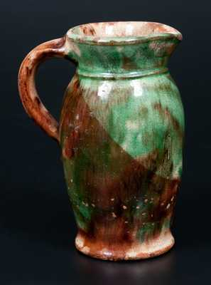 Multi-Glazed Redware Cream Pitcher, Strasburg, VA, circa 1890
