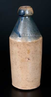 BROWNELL & WHEATON Stoneware Bottle with Cobalt-Dipped Top