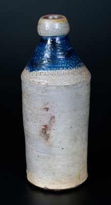 P. PFANNEBECKER Stoneware Bottle w/ Cobalt-Dipped Top