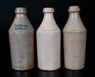 Lot of Three: Stoneware Bottles Impressed ROCHESTER, N.Y., CAMOTTE & MAROHAND, and Cha's. E. Barbour / Lewiston, Me.