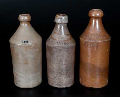 Lot of Three: Stoneware Bottles Impressed S. S. KNICKERBOCKER, D. L. O. & SON, and G & CO.