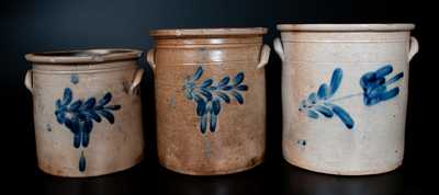 Lot of Three: Graduated 2, 3, and 4 Gal. Pfaltzgraff Stoneware Crocks incl. Signed THE P. S. CO. / YORK, PA Example
