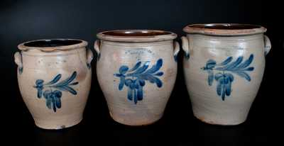 Lot of Three: Graduated H. B PFALTZGRAFF / YORK, PA Stoneware Jars w/ Nearly-Identical Decorations