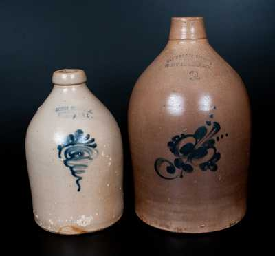 Lot of Two: FORT EDWARD, NY Decorated Stoneware Jugs