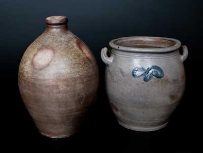 Lot of Two: STEDMAN / NEW HAVEN Stoneware Jug, Westerwald Stoneware Crock