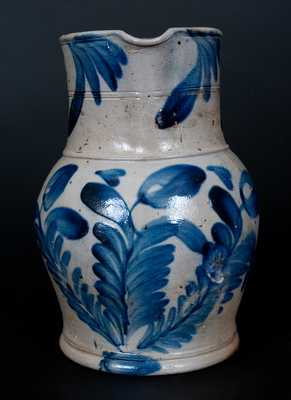 Very Fine Stoneware Pitcher with Cobalt Floral Decoration att. Richard Remmey, Philadelphia, PA