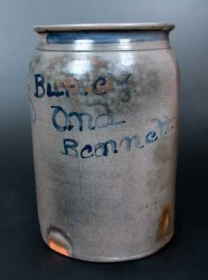 Extremely Rare Burley and Bennett, Barbour County, West Virginia Stoneware Jar