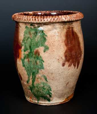 Outstanding S. BELL & SON / STRASBURG, VA Multi-Glazed Redware Cream Jar