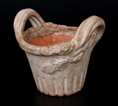 Unusual White Slip-Decorated Redware Flowerpot with Applied Leaves and Flowers