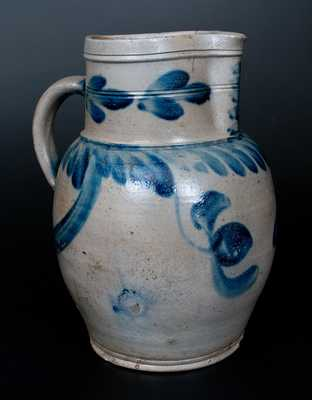 2 Gal. Bulbous Stoneware Pitcher with Hanging Tulip Decoration, Southeastern PA origin