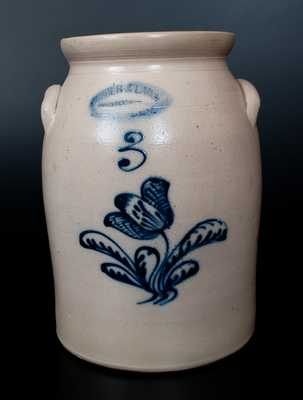 BURGER & LANG / ROCHESTER, NY Stoneware Jar w/ Slip-Trailed Floral Decoration