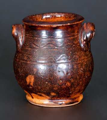 Exceptional Great Road, TN or VA Miniature Handled Redware Jar